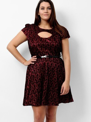 Lace belted skater dress
