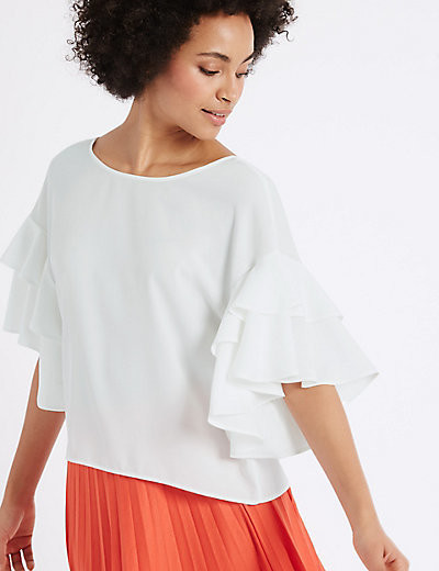 Cream Flamenco Sleeve Shell Top
