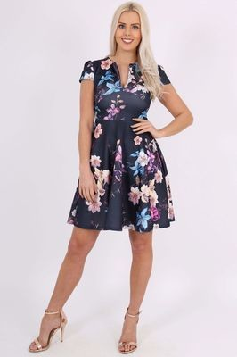 Floral Keyhole Skater Dress