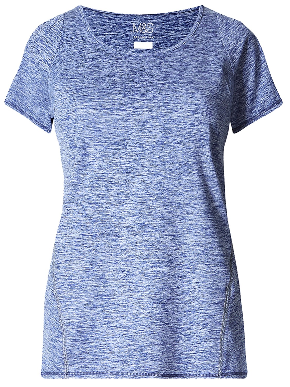 DARK-BLUE Performance Marl Tee Exercise Shirt