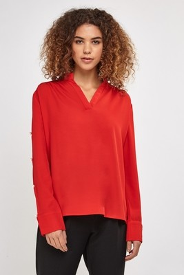 Faux Pearl Insert Sleeve Blouse