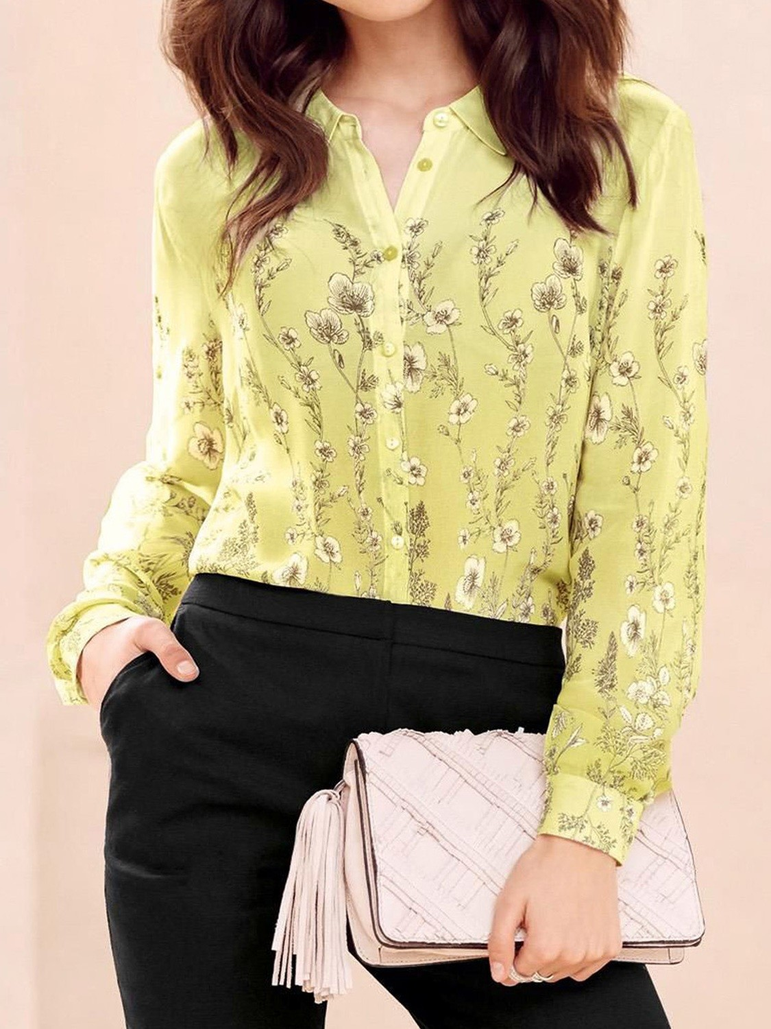 Flower Printed Long Sleeve Blouse