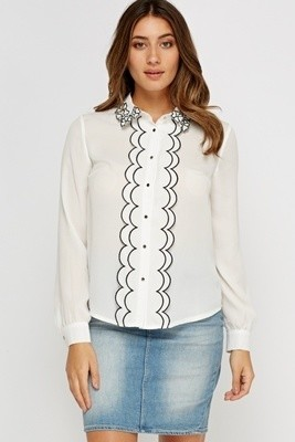 Flower Trim Blouse White