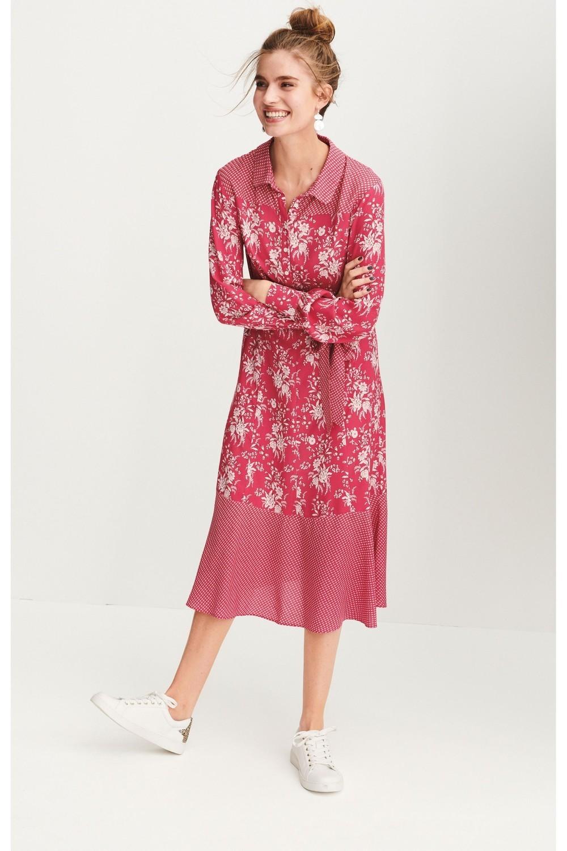 Next Pink Print Shirt Dress