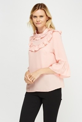 Frilled Collar Blouse Peach