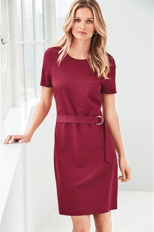 Next Red Belted Workwear Dress