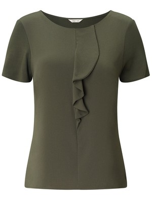 KHAKI Ruffle Front Short Sleeve Top