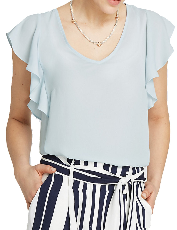 Light Blue V-neckline Ruffle Sleeve Shell Top