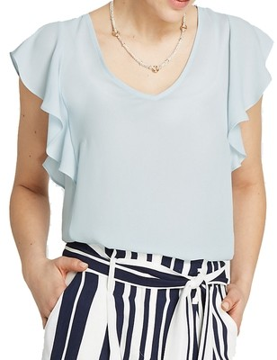Light Blue V-neckline Ruffle Sleeve Shell Top