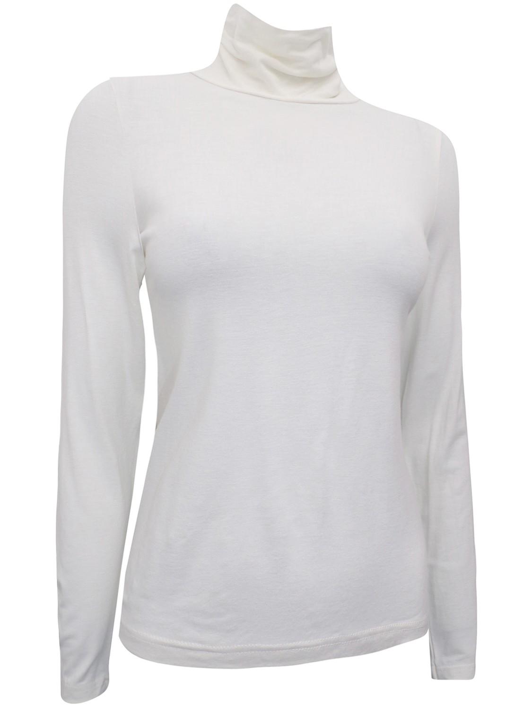 Long Sleeve CLARA Roll Neck Jersey Top Cream