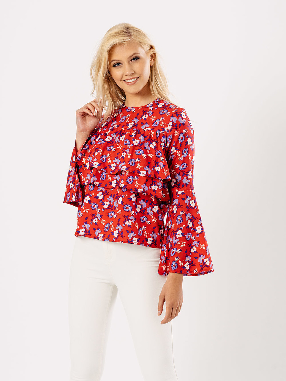 Pink Floral Layered Bell Sleeve Top