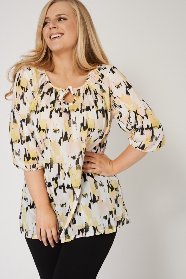 Top With Abstract Print And Neck Tie