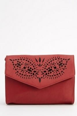 Laser Cut Faux Leather Crossbody Bag Burgundy