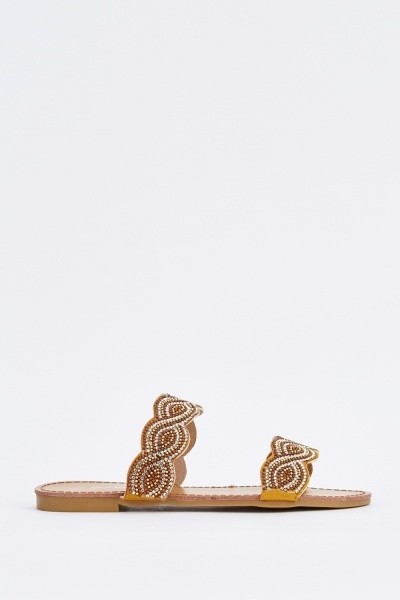 Spiral Encrusted Slide Yellow Sandals