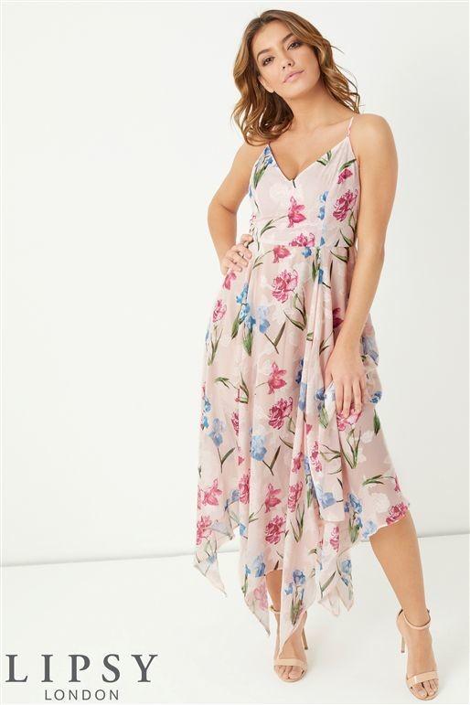 Lipsy Floral Jaquard Hanky Hem Dress