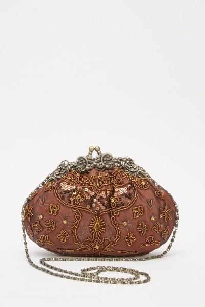 Heavily Embellished Clutch Bag Brown