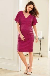 Pink Maternity Stretch Lace Dress