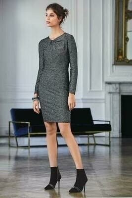 Black/Grey Sparkle Twist Neck Dress