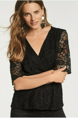 Lace Wrap Top Black