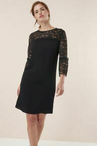Black lace insert dress