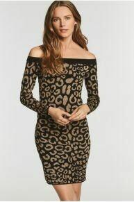Leopard Jacquard Bardot Dress