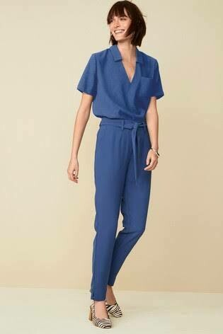 Co-ord Crepe V-Neck Top and Trousers Set Blue