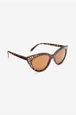 Tortoiseshell effect cat eye studded sunglasses