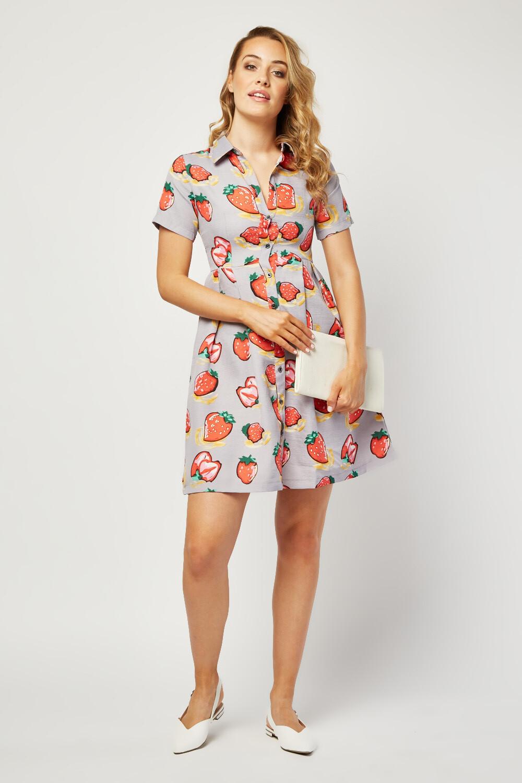 Strawberry Print Shirt Dress