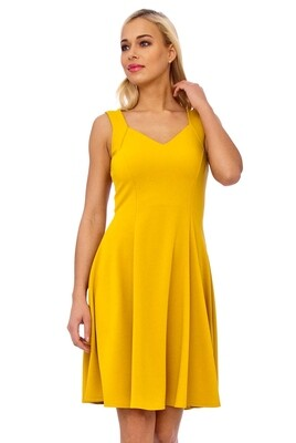 Mustard Strap Detail Fit And Flare Dress
