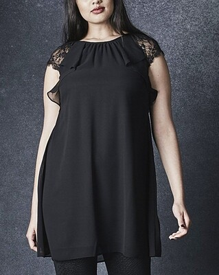 BLACK Lace Trim Tunic Top