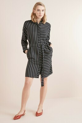 Black Stripe Belted Shirt Dress
