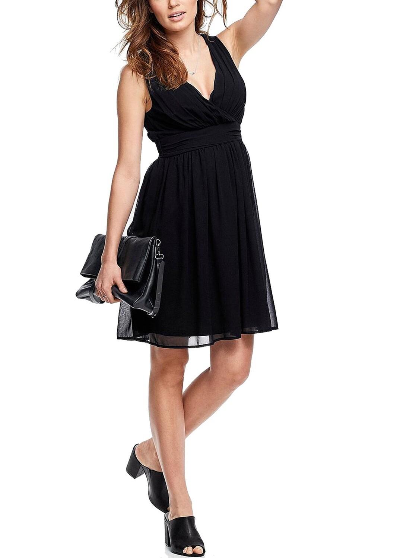 Crossover Front Sleeveless Black Dress