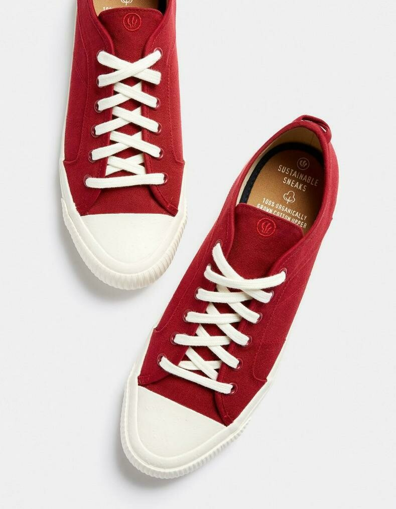 Red Organic Lace-Up Unisex Trainer