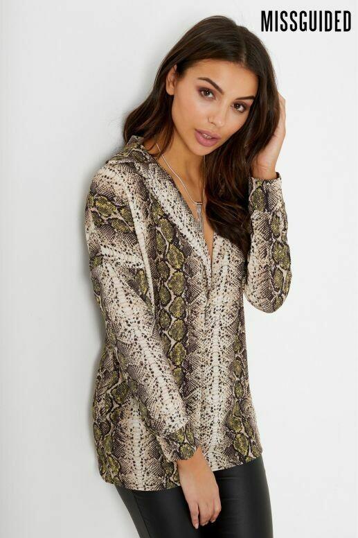 Snake Print v neck oversized blouse