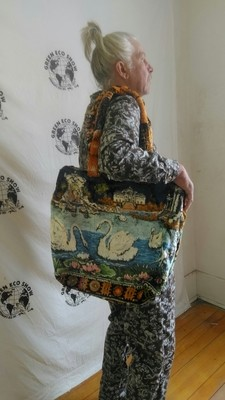 Carpet bag Swans and Deer  hinged lined
