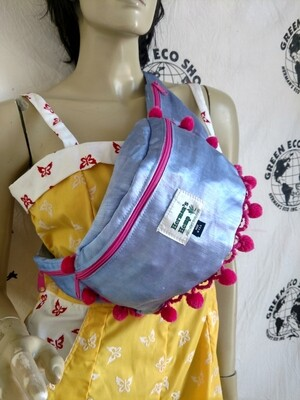 Hermans Hemp Silk Fanny Pack with Pom Poms blue  pink USA
