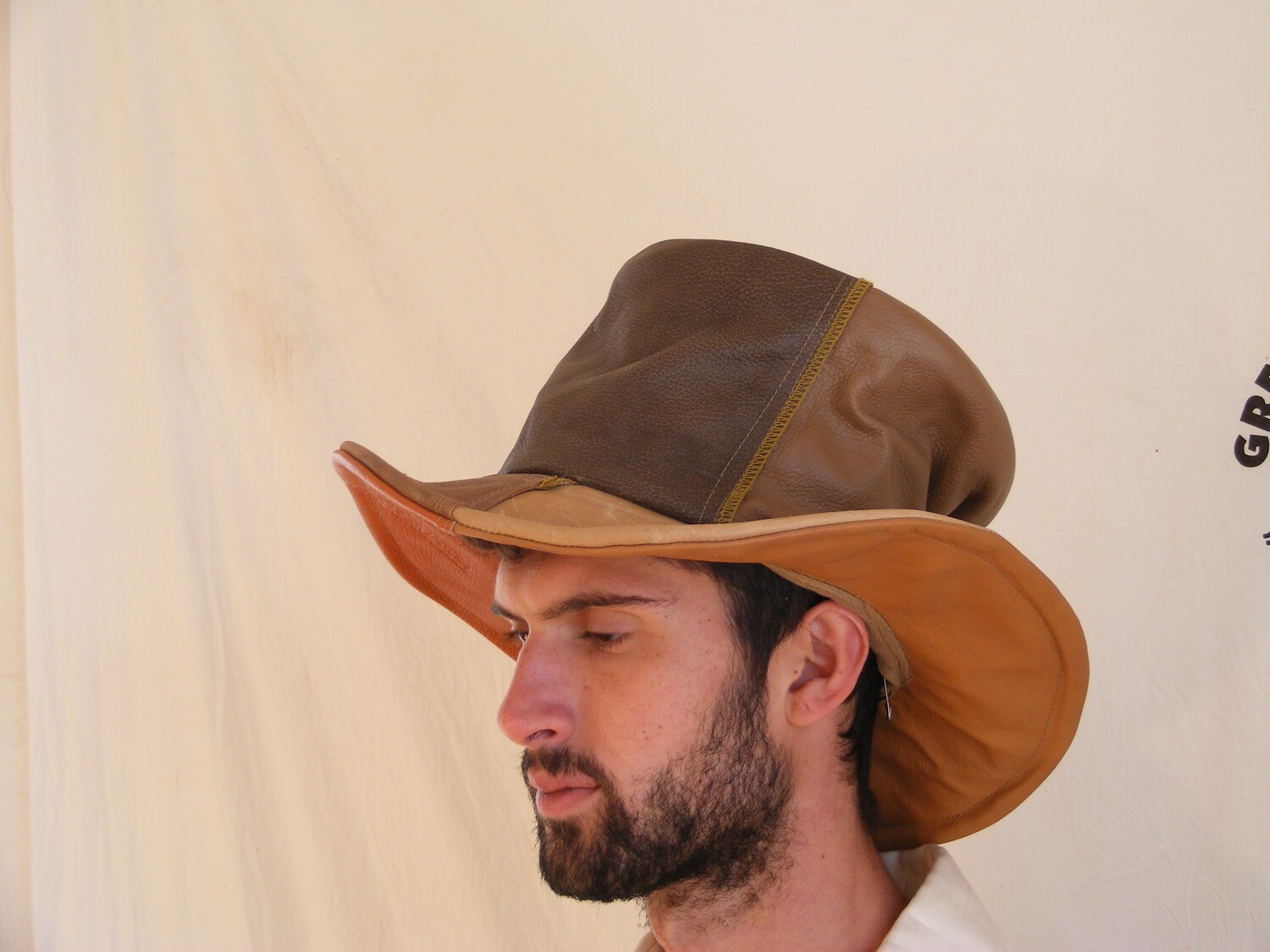 Leather Top hat Large  Repurposed