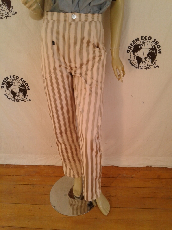 Women pant gold white stripe M 28 Hermans USA