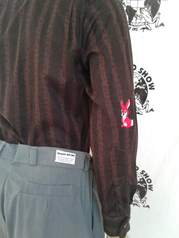 Mens long sleeve brown striped shirt med