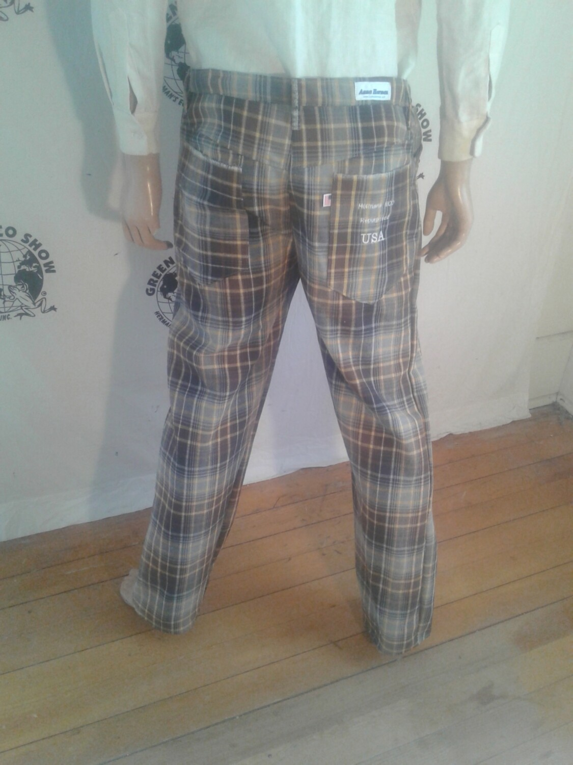 Plaid jeans 36 X 32 Hermans made in uUSA