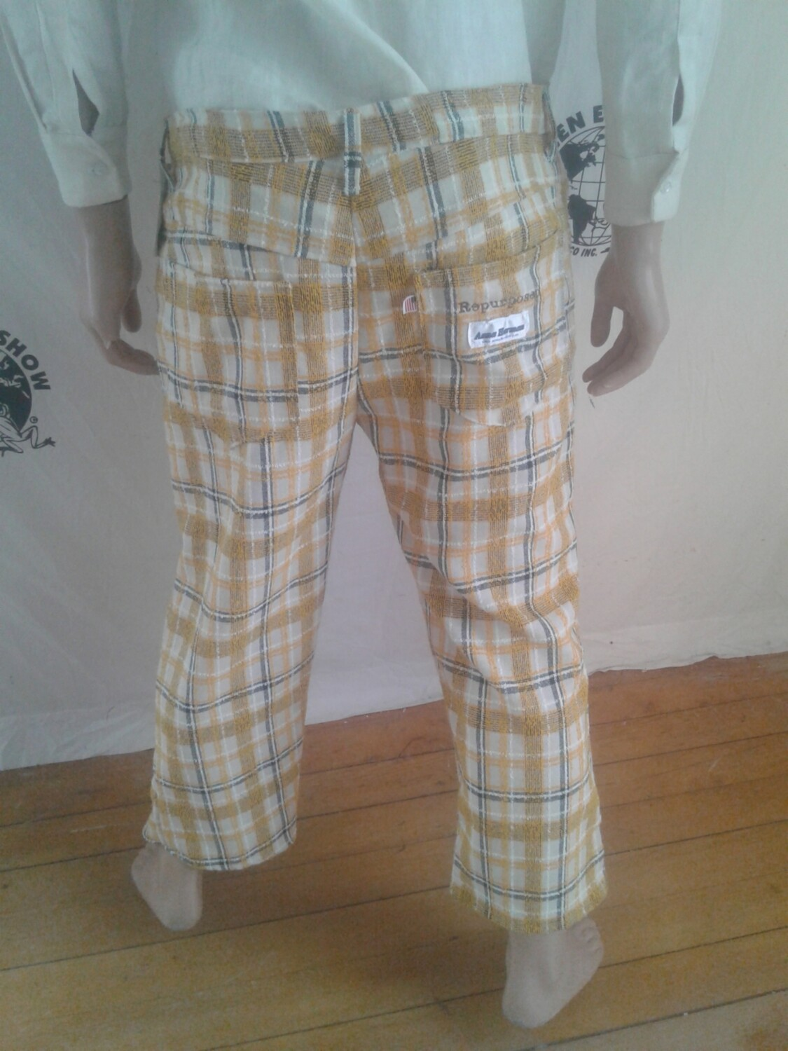 Plaid jeans Shorts 37 X 24 made in USA Hermans