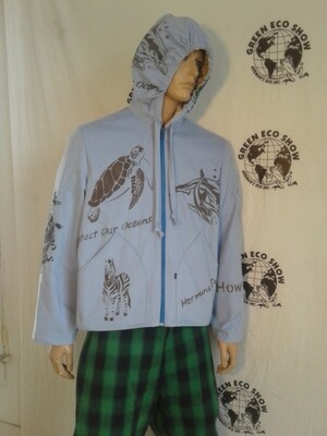 Hip hop grafitti jacket xl airbrush Blue Hermans Eco USA