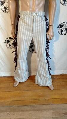 Fringed bell bottoms pants linen 34