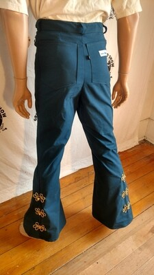 Mens bell bottom jeans with gold trim 32X 33
