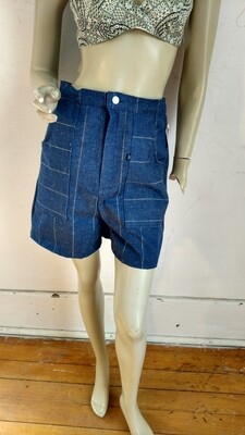 Shorts gold thread denim jean Med 30 Hermans USA
