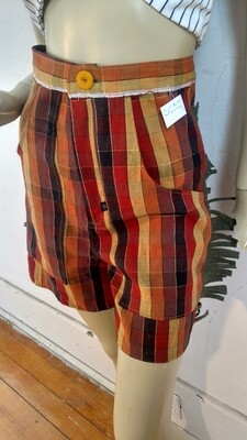 Womens western fringed plaid Denim shorts S 27