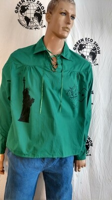Mens lace up Western shirt L with Graphics Hermans