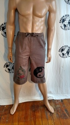 Mens Drawstring organic cotton shorts S to M USA Lotus