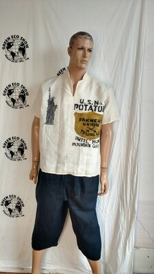 Hermans Hemp L mens Shirt Statute of Liberty Farmers Union Potatoes