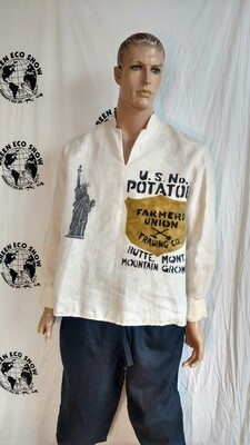 Hermans Hemp mens Shirt L Statute of Liberty Potatoes Union